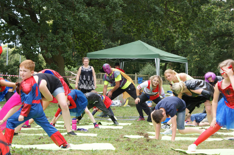 People enjoying themselves at the Superhero Boot Camp